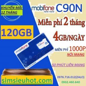 C90N MobiFone 4G ưu đãi 120GB data + 1050 phút gọi