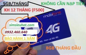 SIM 4G Mobifone F500 Trọn Gói 1 Năm (5GB/Tháng) Không Cần Nạp Tiền