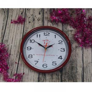 Đồng hồ treo tường tròn viền nâu đỏ