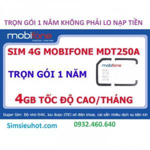 Sim 4G Mobifone MDT250A Trọn Gói 1 Năm (4GB/Tháng) Không Cần Nạp Tiền