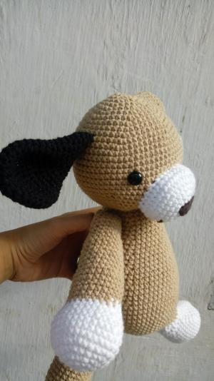 Gấu bông chó đẹp - Thú nhồi bông cún con - Cún Domino len handmade - Móc con chó bằng len