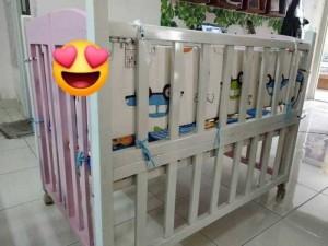 Thanh lí cũi gỗ goldcat trắng hồng 2 tầng cho bé