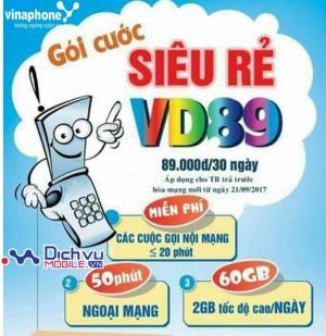 SIM 4G Vinaphone VD89 Tặng 60GB/Tháng Free Tháng Đầu