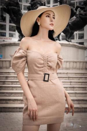 Đầm body trễ vai nhún ngực dễ thương (DB2420)