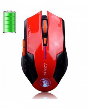 Chuột không dây cao cấp AZZOR dùng pin sạc (màu Đỏ) | Mouse ko dây azzor