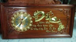 Tranh gỗ đồng hồ chữ đức