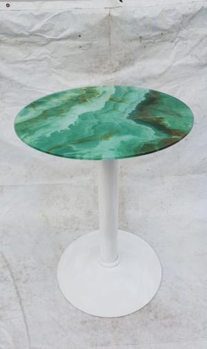 Bàn cafe chân Inox mặt kính hoa mẫu mới nhất của xưởng sản xuất Ghế mây Thái Bình