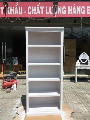 Kệ sách gỗ thông 5 tầng màu trắng KT: 75x35x185cm