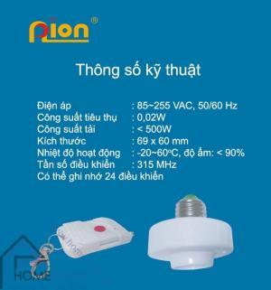 Đui đèn thông minh điều khiển từ xa học lệnh RF PION LHR315