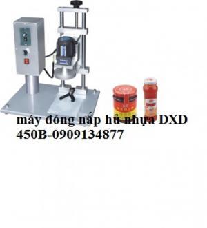 Máy đóng nắp hủ nhựa bán tự động DXD450B, máy xiết nắp chai hủ, máy xiết nắp hủ đường kính 9cm