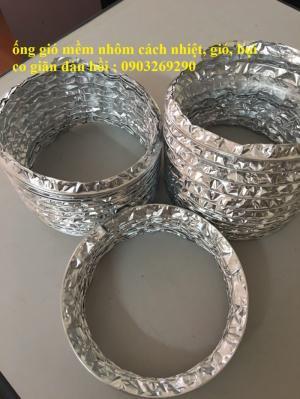 Nhập khẩu phân phối ống gió mềm vải cam, ghi, chất liệu sợi cốt dù dẻo dai D100, D125, D150......D400