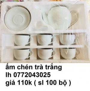 ấm chén trà trắng in logo quảng cáo giá rẽ