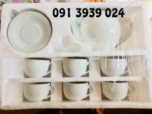 Ấm trà sứ trắng giá rẻ, in ấm chén trà làm quà tặng