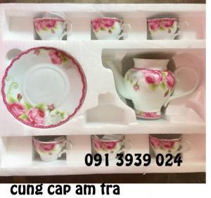 Bộ tách trà in logo đẹp, bộ ấm trà hoa văn in logo làm quà tặng tết