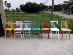 Bộ ghế gỗ nhìu màu