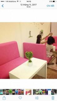 Bộ bàn ghế sofa màu hồng siu cute cho quán trà sữa