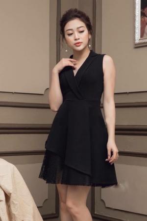 Đầm xòe cổ vest phối ren (DX6664)