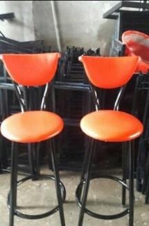 Bộ đôi ghế gỗ bọc nệm màu cam đẹp,chất lượng