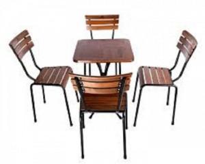 Bộ bàn ghế gỗ chân sắt đẹp