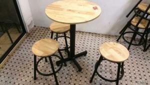 Bán bộ ghế gỗ mặt tròn