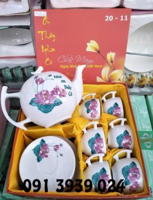 Bộ ấm trà, bộ ấm trà in logo theo yêu cầu, ấm chén trà sứ trắng đẹp