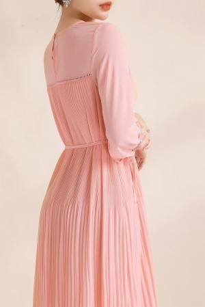 Đầm suông voan dập li thắt eo (DB2450)