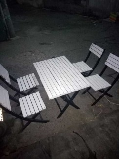 Bán bàn ghế gỗ xếp màu trắng