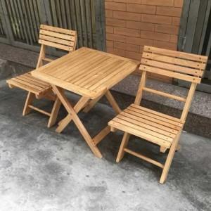Bộ bàn ghế gỗ xếp 1 bàn + 2 ghế