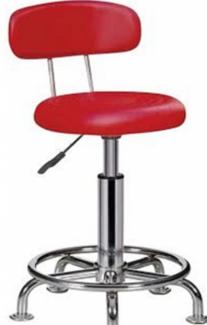 Ghế xoay màu đỏ có lưng tựa inox