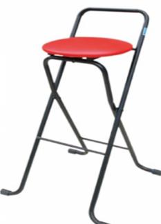 Ghế chân trụ inox có bọc nệm màu đỏ
