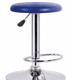 Ghế xoay mặt tròn bọc nệm xanh dương trong quán bar