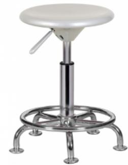 Ghế xoay mặt tròn màu trắng có 4 chân trụ