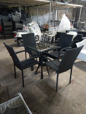 Bàn ghế cafe nhựa giả mây giá rẻ HTT666