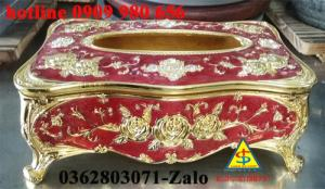 Hộp khăn giấy mạ viền vàng cao cấp- hàng có sẵn - Quà tặng mùa tết