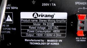 Arirang PA 203 III công suất 300W giá 2100K...