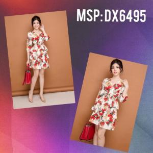 Đầm hoa tay lỡ 3 tầng (DX6495)