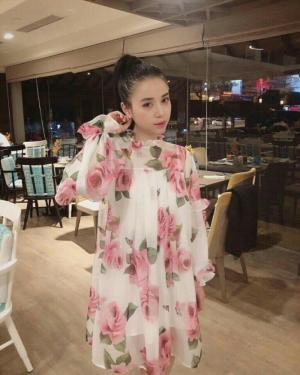 Đầm suông hoa hồng nhún bèo (DB2239)