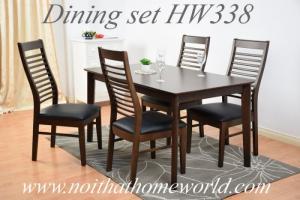 Bộ bàn ăn 4 ghế gỗ bọc nệm- mã số HW338- Hàng xuất Nhật