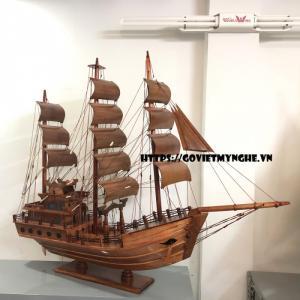 Mô Hình Thuyền Gỗ Chở Hàng Thái Lan (Thân 80cm - Gỗ Tràm)