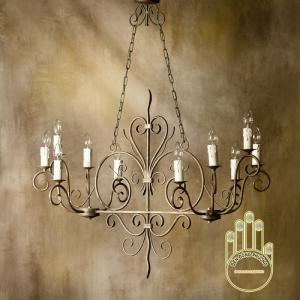 Đèn chùm sắt cổ điển cho phòng an, quầy bar