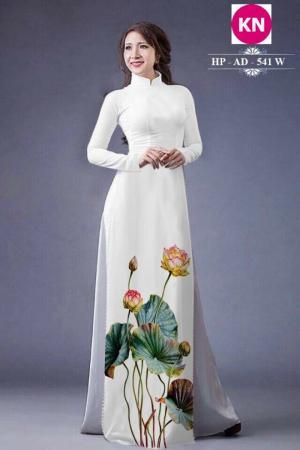 Vải áo dài đẹp in 3D hoa sen