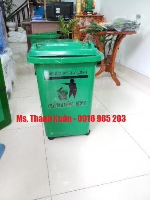Thùng rác y tế 60 lít 4 bánh nhựa hdpe, thùng rác màu vàng 60 lít, thùng rác màu trắng 60 lít