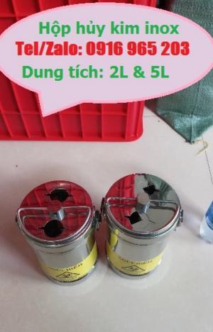 Hộp đựng vật sắc nhọn inox 2 lít, bình hủy kim inox 2 lít, hộp kim tiêm inox 2 lít