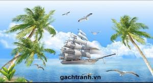 Tranh thuận buồm xuôi gió -gạch tranh 3d