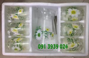 Bộ bình ly thủy tinh có hoa văn in logo làm quà tặng tết cho khách hàng