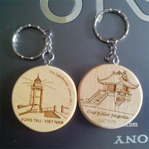 Móc khóa khắc hình tròn ( cặp 2 cái )