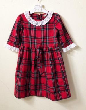 Đầm noel đỏ bé gái kiểu xòe nhẹ họa tiết caro HIKARI-13