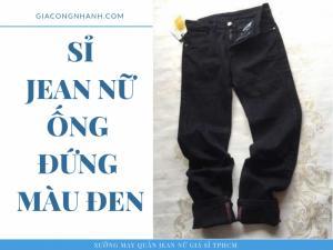 Quần Jean ống đứng nữ màu đen