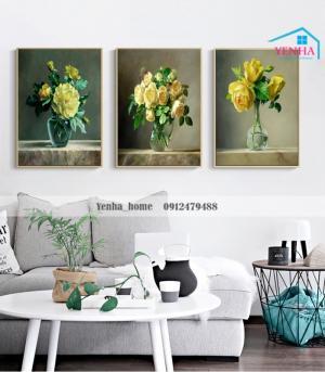 Tranh Canvas Bộ 3 lọ hoa siêu rẻ, đẹp