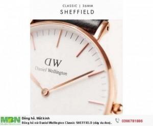 Đồng hồ nữ Daniel Wellington Classic SHEFFIELD (dây da đen)  - Rose Gold